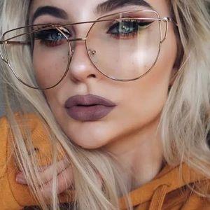 Accessories - Cat Eye Flat Top Flat Clears Lens Sunglasses